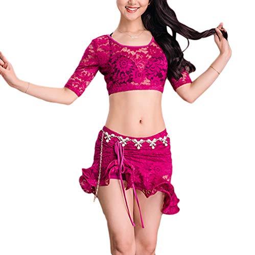 Zengbang Frauen Bauchtanz Praxiskleidung Anzug Sexy Spitze Gürtel Trainingskleidung Irregulär Latein Tanzen Outfit ()