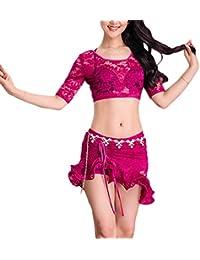 Zengbang Mujer Encaje Ejercicios Transpirable Conjunto Danza del Vientre Falda De Cola De Pez Dividida