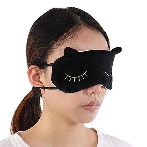 Schlafaugenmaske, reizende nette Karikatur-Tierbaumwollaugen-Schlaf-Augenklappe, die Augenbinden-Schild für Hauptreise-Flug-Licht-Schattierungs-Abdeckung reist(Black)