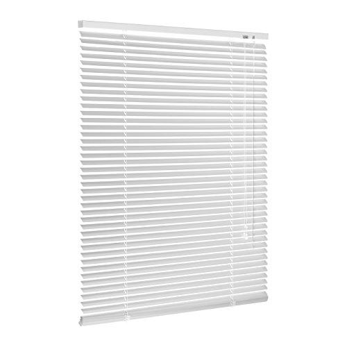 Persiana de aluminio blanca/persiana veneciana plisada enrollable en muchos tamaños 40/45/50/55/60/65/70/75/80/85/90/95/100/110/120/130/140/150/160x130o 160o 220o 240cm (ancho x alto), metal, weiss, 80x220 (B x H in cm)