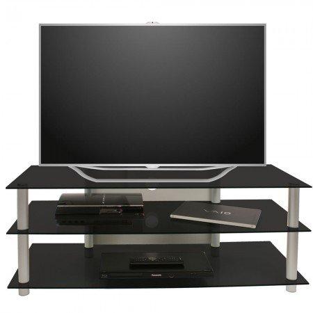 VCM Netasa TV Furniture with Aluminium/ Glass Finish, Alu Silver/