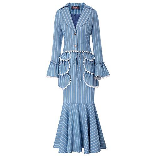 Edwardian Kostüm Damen - Damen Rock Kostüme Business Office Victorian Kostüm Blau L