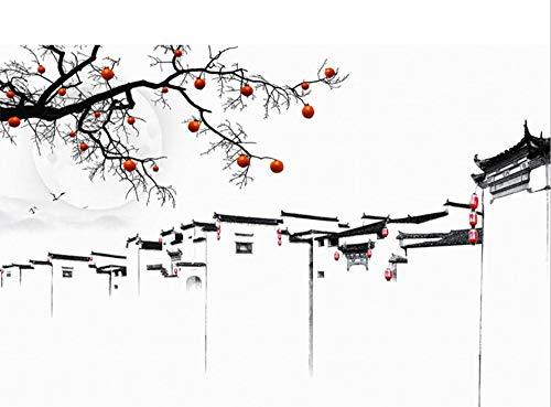 Tinte Jiangnan Persimmon Tree 3D Stereo Neue Chinesische Tv Hintergrund Tapete Nahtlose 5D Wandbild Aufkleber Mural-300X210Cm - Persimmon Blume