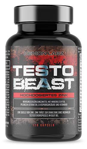 Testo Beast - Demon Labz | Hardcore Testosteron Booster für Männer - Muskelaufbau - Aminosäuren, Maca, D-Asparaginsäure & hochdosiertes Zink | 120 Kapseln