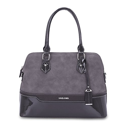 David Jones - Damen Bugatti Handtasche - Frauen Henkeltasche - PU Lackleder Multicolor - Bowling Messenger Tasche - Schultertasche Umhängetasche - Elegante Shopper City Bag - Grau -
