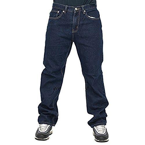 Peviani Herren Jeans, Indigo G Denim-Hose, Gerade, Bequeme Passform Hip Hop Star Waschung - Steingewaschen Blau, 32W x 29L