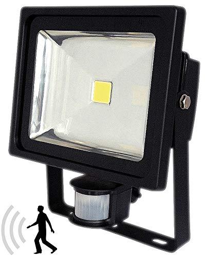 Outdoor Halogen-scheinwerfer (Luminea LED Halogen-Scheinwerfer: COB-LED-Fluter 30 W mit PIR-Sensor, 4200 K, IP44, schwarz (Außenbeleuchtung neutralweiß))