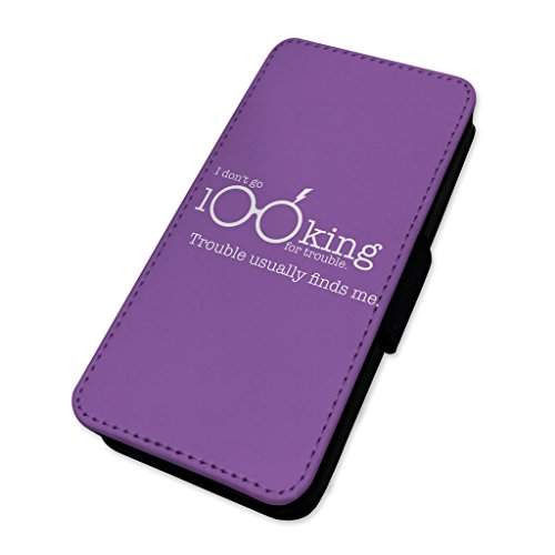 Looking For Trouble–Viola Wizard quote–Flip cover in pelle cover Apple iPhone 4/4S