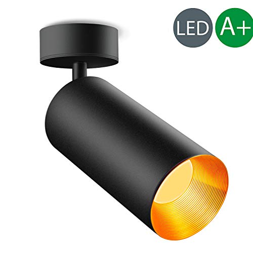 Xodzasg LED Deckenleuchte Schwenkbar LED Deckenstrahler Lampe, Spotlight Deckenlampe,WandLampe/Weiss-Metall- Aluminium/10W Warmes Weißes Licht 3000K (Schwarz (warmweiß))