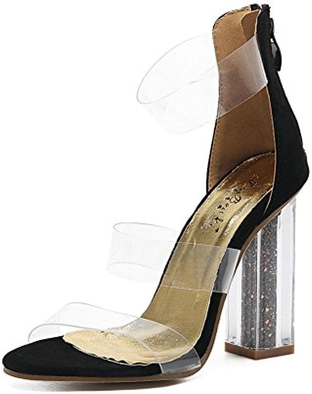 Donna Sandali in PVC trasparente trasparente trasparente Sexy Cristallo Scarpe Di spessore alto Tacco Sbirciare Dito del piede Nero Lavoro... | Speciale Offerta  | Uomo/Donna Scarpa  d90d95