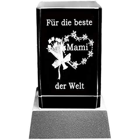 Kaltner Präsente - Placa decorativa con iluminación LED (cristal grabado por láser), diseño con flores y mensaje de amor a madre en alemán