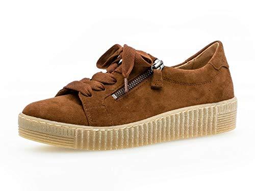 Gabor Damen Low-Top Sneaker 33.334, Frauen Sneaker,Halbschuh,Schnürschuh,Strassenschuh,Business,Freizeit,Whisky (Natur),40 EU / 6.5 UK