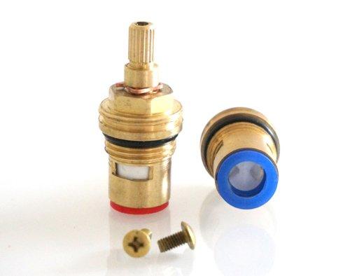 Media vuelta de latón de la válvula de disco de cerámica grifo de la glándula dípticas modiify 1,27 cm (tamaño del lavabo), P253L (18 conector acanalado), HTV-Q153L (53mm x 12mm spline)