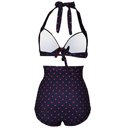 Gigileer 50's Damen Frauen Badeanzug Bademode Bikini Set - Hohe Taillen -Neckholder - bauchweg XL -