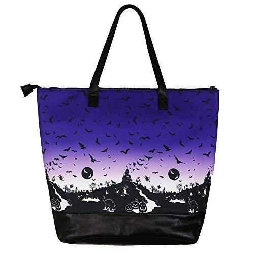 Hell Bunny Haunt Lila Ombre Gotik Katze Fledermaus Halloween Retro Schultasche Handtasche