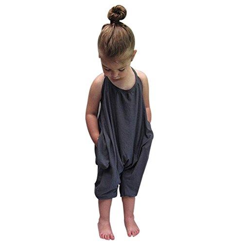 Overdose Kleinkind-Kind Baby Mädchen Bügel Spielanzug Overalls Stück Hosen (1-2 Jahre alt, Grau) (Disney Kostüm Und 1 Jahr Alt)