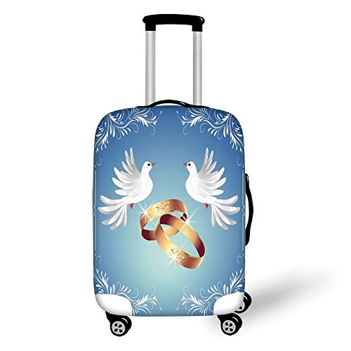Travel Luggage Cover Suitcase Protector,Wedding Decorations,Card Inspired Design with Floral Ornaments Two White Birds Rings,Blue Gold White,for Travel Stretch-lycra-ring