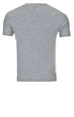 Young & Rich Herren V-Neck Big Button T-Shirt Basic Shirts Grey Melange
