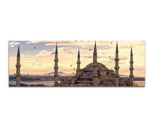 Bilder Wand Bild - Kunstdruck 150x50cm Istanbul Moschee Sonnenuntergang Vögel