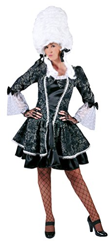 Karneval-Klamotten Viktorianisches Kostüm Damen Barock Kostüm Renaissance Damen-Kostüm grau kurz Größe ()