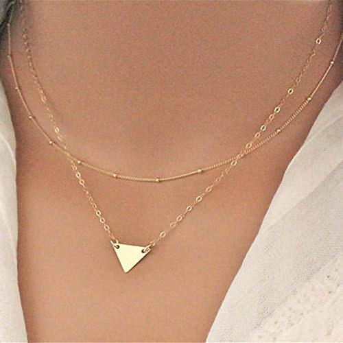 ered Perlenketten Dreieck Anhänger Halskette Kette Schmuck für Frauen und Mädchen (Gold) ()
