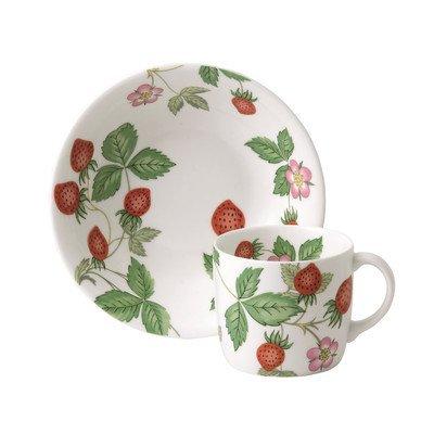 Wedgwood Wild Strawberry Serviergeschirr-Set mit kleiner Tasse und Schüssel, Weiß, 2-teilig Wedgwood Wild Strawberry