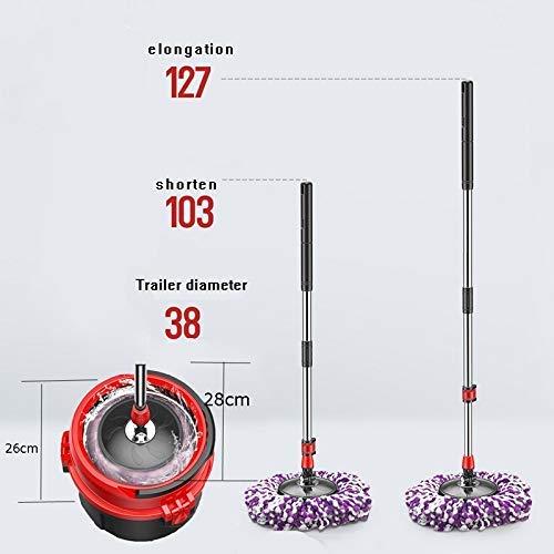 LXDD Sets Spinning System 360 Spin Mop mit verlängertem Griff, Abflusskorb aus Edelstahl, 3 extra Mikrofaserkopfminen für. für Küche Bad Hartholz Laminat Fliesen Bodenreinigung und mehr,Braun - Tupfer-system
