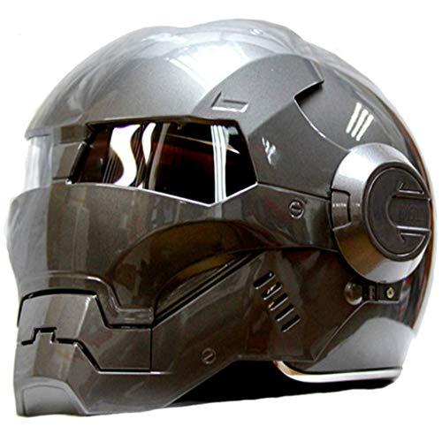 LSLVKEN Man Iron Man Helmet Marvel Avengers Autostrada Casco Professionale per età, Cuffia SUV Grigio,S