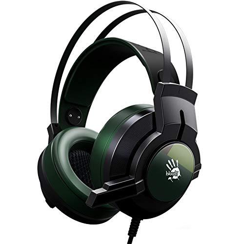 Stereo Gaming Headset für Playstation 4 PS4, Over-Ear-Kopfhörer mit Mikrofon und LED-Lichtern für Xbox One, PC, Laptop Grün grün