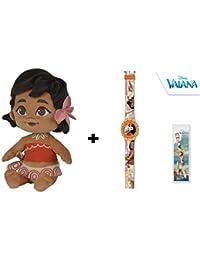 Vaiana (Moana) - Pack peluche Vaiana bebe 25cm (Famosa760016403) + Reloj Digital