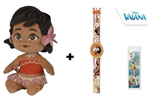 Vaiana (Moana) - Pack peluche Vaiana bebe 25cm (Famosa760016403) + Reloj Digital Vaiana