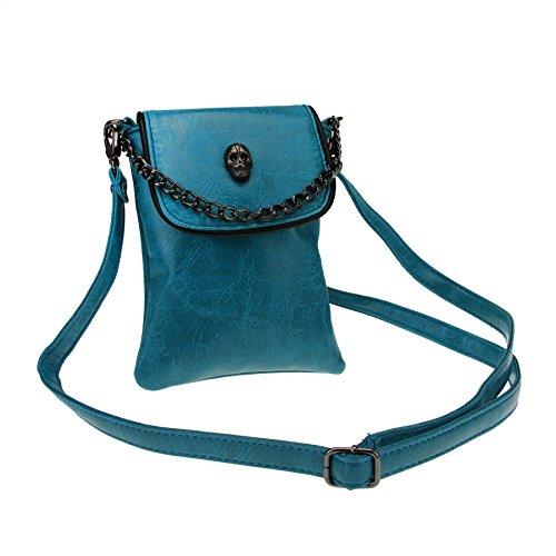 FakeFace Damen PU Leder Schultertasche Umhängetasche Clutch Handtasche Henkeltasche mit Totenkopf Handytasche Handbag Crossbody Bag Geschenk für Damen Mädchen (Dunkelgrün) -
