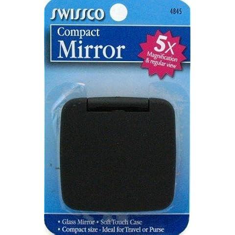 Swissco espejo acrílico con diseño de diseño compacto y de ellos con aumento 5X (paquete del unidades de 6)