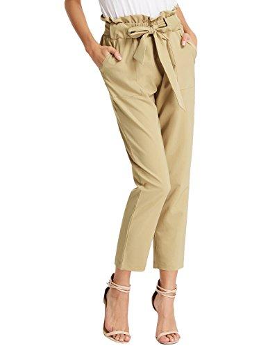 Skinny Khaki-hosen (GRACE KARIN Damen Hosen Sommer Skinny Hose Khaki hohe Taille Hose lang Elegante Hose L CL1011-2)
