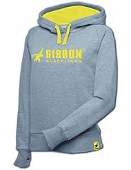 Gibbon Slacklines Hoodies Girls - Sudadera de fitness para niña, color gris / amarillo, talla S