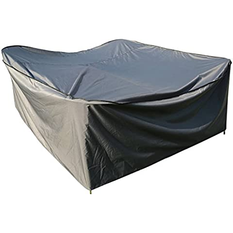 Funda / Cover / Protectora para Mesa Cuadrada | 200 x 200 x 90 cm (L x A x A) | Gris | Impermeable | SORARA | Poliéster (UV 50+) | Para exterior Muebles de Jardín, Terraza, Patio