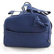 Bolso Polipiel Para Carro Bebe - Color Blanco Azul Marino – 4 bolsillos