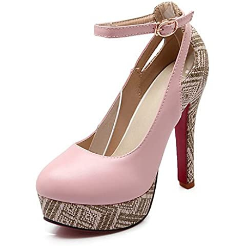 LvYuan-ggx de las mujeres zapatos de cuero de vaca / cuero botas / botas de gladiador / comodidad / de combate / Novedad / estilos gruesos / dedo del , pink-us10.5 / eu42 / uk8.5 / cn43 , pink-us10.5 / eu42 / uk8.5 / cn43