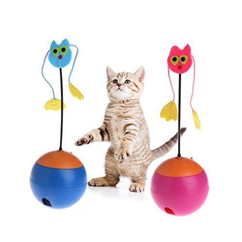 KatzenSpielzeug,Gaxen 1 STÜCK Pet Spielzeug Elektrische Tumbler Rolling Food Dispenser Feeder Lustige Ball Hund Katze Welpen (blau) -