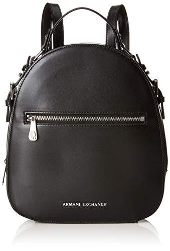 Armani Exchange Damen Backpack With Zip Rucksack, Schwarz (Black), 27x8.5x23.5 cm