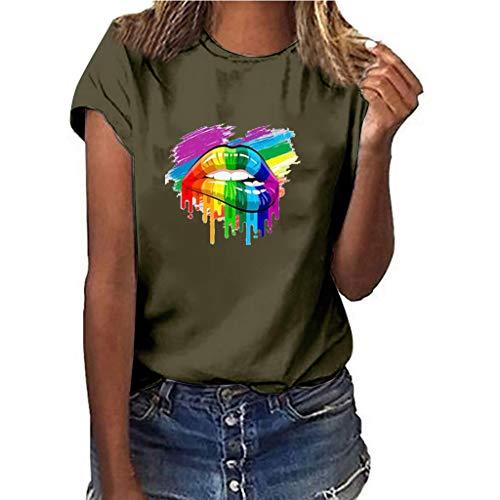 Fuibo Damen T-Shirt Mädchen Plus Größe Lippen Drucken Shirt Kurzarm T-Shirt Bluse Tops lässig Wild Tops Party Dating Wear Basis Shirt (2XL, Army Green) -