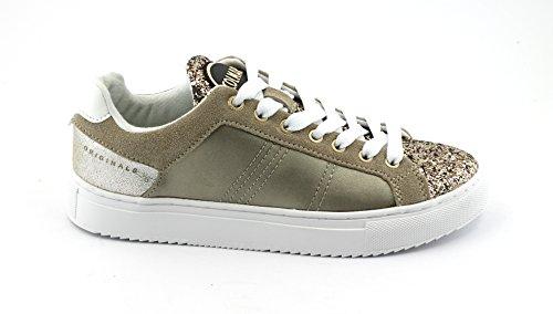 Colmar BRATRE Chaussures Paillettes Or Or Espadrilles Lacets en Cuir