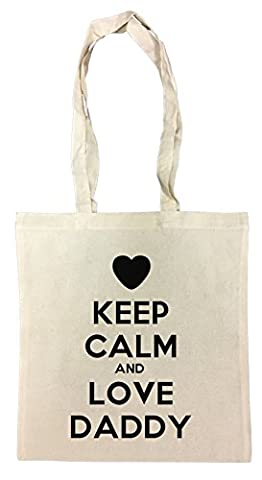 Keep Calm And Love Daddy Sac à Provisions Plage Coton Réutilisable Shopping Bag Beach Reusable