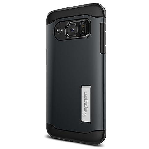 Coque Galaxy S7 Edge, Spigen [Slim Armor] AIR CUSHION [Metal Slate] Air Cushioned Corners / Dual Layer Protective Coque Samsung Galaxy S7 Edge (2016) - (556CS20025)