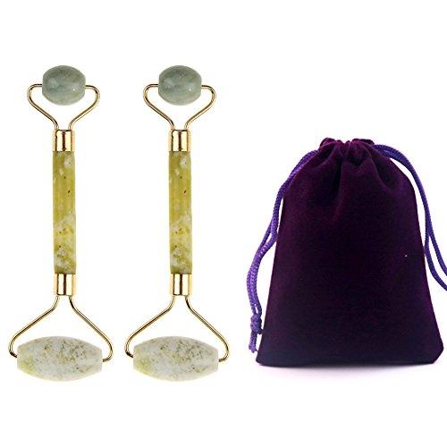 Preisvergleich Produktbild haishell 2 Pcs Jade Roller Face Massagegerät mit Doppelrollen Natürliche Jade Stein Gesichts-Massagegerät für Ihre Augen,  Gesicht und Hals mit Lila Samt Kordelzug Beutel