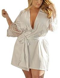 DOGZI Lencería de Encaje de Mujer Vestido de Kimono de Seda Vestido de Bata de Baño