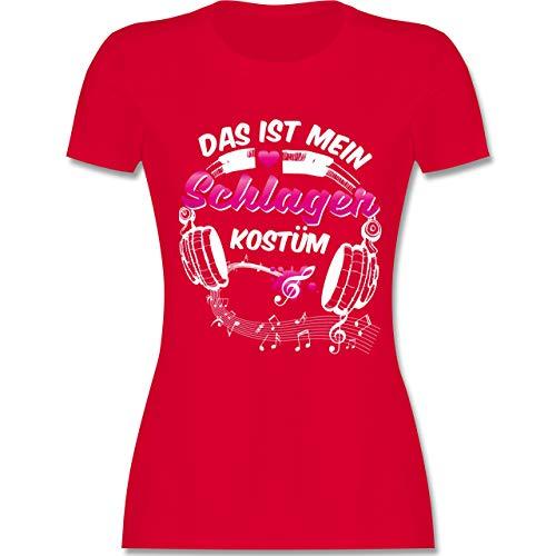 Karneval & Fasching - Das ist Mein Schlager Kostüm - L - Rot - L191 - Damen Tshirt und Frauen T-Shirt