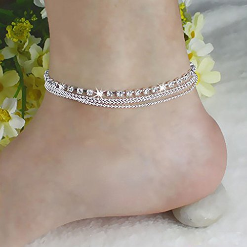 HuntGold 1X Women Jewelry Silver Plated Four Layers Ankle Foot Chain Shining Diamond Anklet