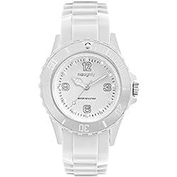 Damen-Armbanduhr, Modell 19, verziert mit Swarovski-Kristallen, Silikon, Weiß