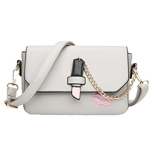 Handtaschen Umhängetasche Kuriertasche Rote Lippen Gedruckte Paket Kleine Quadratische Paket Einfache Wilde Freizeit Mode Grey